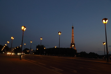 Illuminated Eiffel Tower from the bridge, Paris