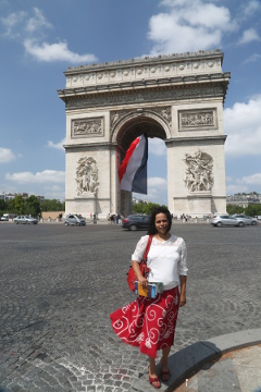 Preetha @ Champs Elysee, with Arc de Triomphe, Paris