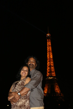Preetha and Sandeep with Eiffel Tower, Paris