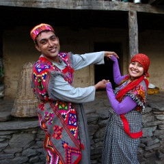 Abhijit and Sancharita in traditional Himachal attire at Lekhni