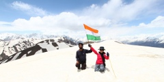 Preetha and Sandeep waving the tri-color at Saurkundi