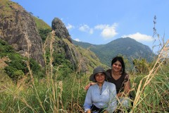 Priyanka and Gladys with the needle rock en route Kurangini