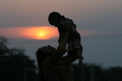 Preethu and Manu with sunset